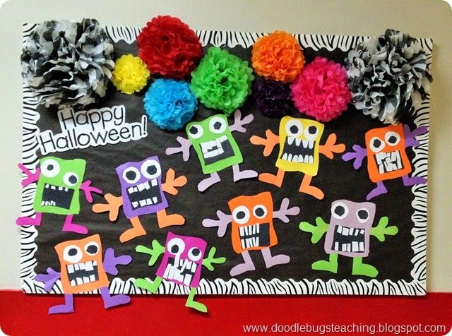 Cute Halloween monsters bulletin board