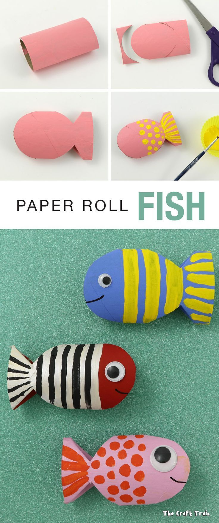 Cutest fish in the sea! Make these adorable paper roll fish with preschool and kindergarten. A great way to let kids use their imagination and create new fish!