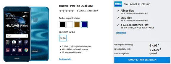Das Neue Huawei P10 lite 32GB Dual SIM Handy für 4,95€ zum Vertrag mit der Blau Allnet XL Classic inklusive Telefon & SMS Allnet-Flat und einer 4 GB Internet-Flatrate bis 21,6 Mbit/s mit11,90 € rechnerische monatliche Grundgebühr im O2 Netz.   #Huawei P10 lite