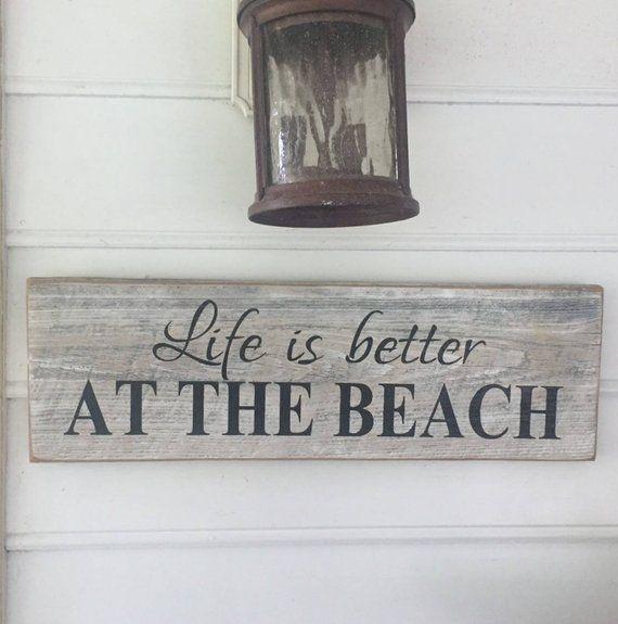 Beach Sign Beach Decor Coastal Decor Cottage Decor Beach Wedding Gift Reclaimed Barn Wood Beach Sign Approximately 25 1 2 X 8 X 1 Beach Signs Wooden Beach Signs Beach Wood Signs