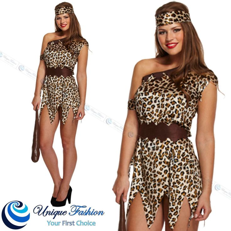 NEW CAVEWOMAN FANCY DRESS CAVE COSTUME JUNGLE LADY LEOPARD ANIMAL PRINT  OUTFIT