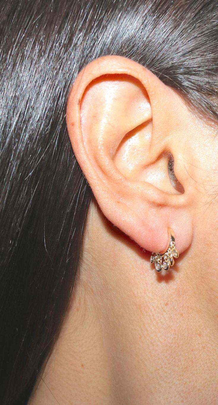 Nose piercing hoop vs stud  Huggie Earrings  Small Silver Hoop Earrings with Dangling CZ