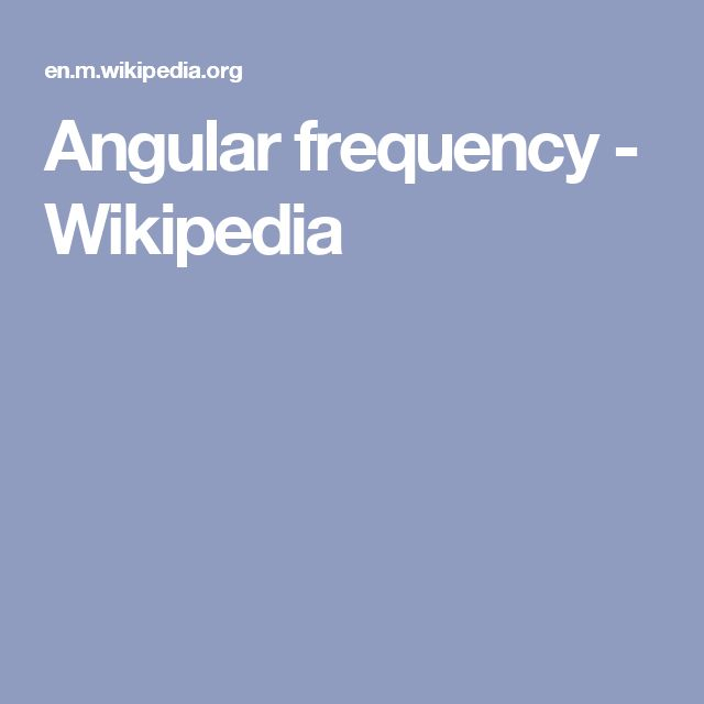 Angular frequency - Wikipedia