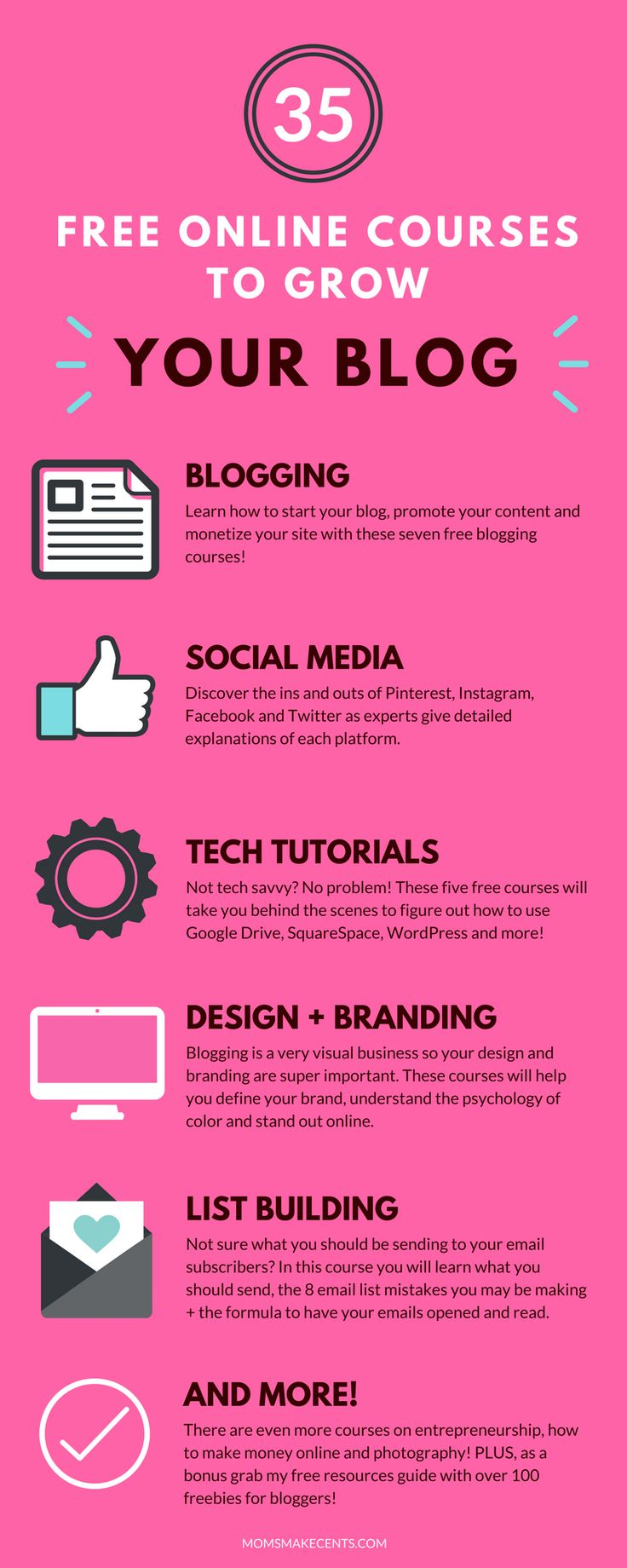 WOW! This list of free blogging courses is amazing. I just signed up for twenty of them! I know what I'll be doing this week. | blogging tips | social media courses | blogging tech tutorials | blog design | email list building |