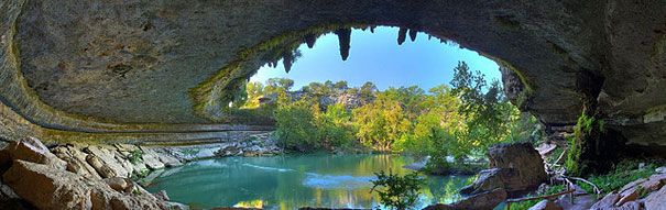 Hamilton Pool Preserve is a historic swimming hole which was designated a preserve by the Travis County Commissioner's Court in 1990. Located 3/4 mile upstream from its confluence with the Pedernales River, Hamilton Creek spills out over limestone outcroppings to create a 50 foot waterfall as it plunges into the head of a steep box canyon. The waterfall never completely dries up, but in dry times it does slow to a trickle. However, the pool's water level stays pretty constant, even during…