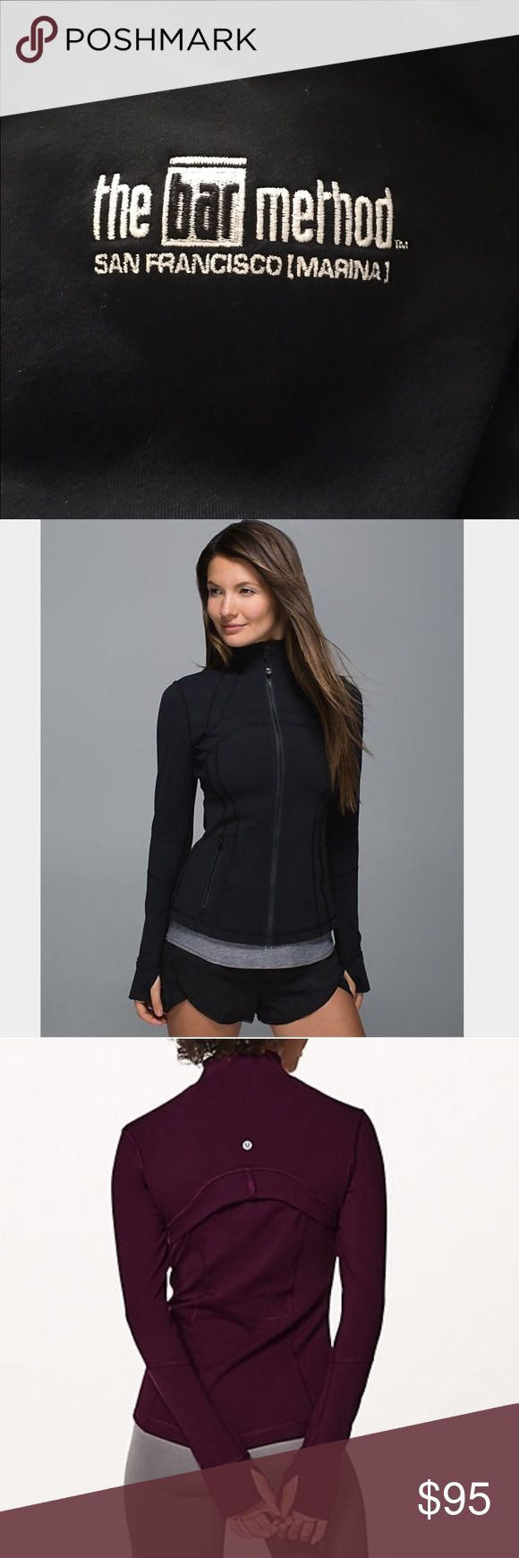 Lululemon Define jacket size 6 Any Bar Method fans?? This is from The Bar Method in San Francisco location, I worked there. Bar Method logo is embroidered on left sleeve. Jacket is in great shape, no fading, piling, snags. 1st & 3rd are stock photos  of jacket. Hands have finger holes and fabric that folds over to keep hands warm. Non smoking & no pet home. Never washed with towels. No trades please. Offers welcome 😘😉 lululemon athletica Jackets & Coats