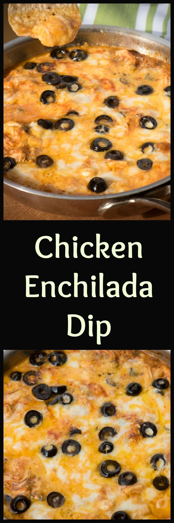 Make chicken enchilada dip ahead of time and pop in hot oven and heat until bubbly. Score! | The Recipe Wench