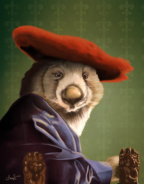 "Fancy wombat painting based on Vermeer's ""Girl with a Red Hat"""