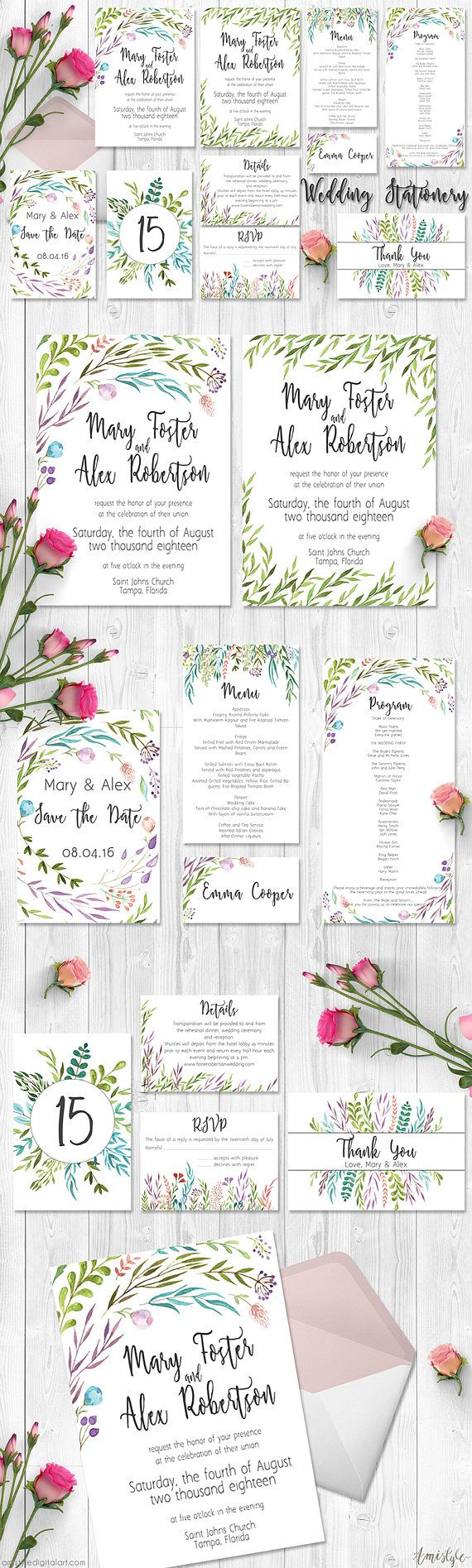 Printable wedding invitation suite - embellished with adorable watercolor leaf and berry elementsThe wedding invitation set is prepared in high-resolution EDITABLE PDF file, so you can DIY edit and print it at home or at your local copy shop. My printables are created from my own hand-painted watercolor designs and artwork in high-resolution, this means you will receive a unique, original design by buying a listing from my shop.  By Amistyle Digital Art on Etsy