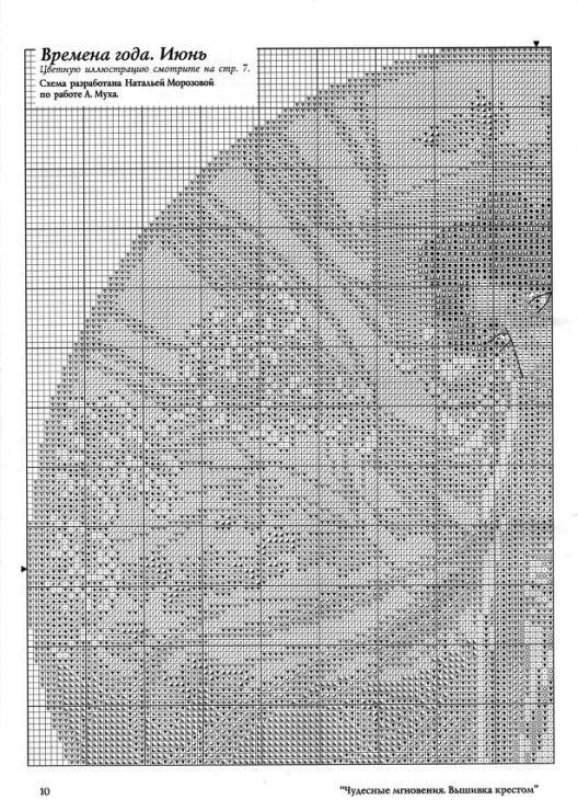 """Borduurpatroon Kruissteek """"De Maanden"""" van Alfons Mucha *Cross Stitch Pattern """"The Months"""" ~Juni 2/5~"""