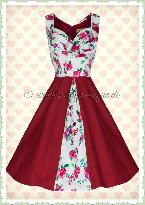 Lindy Bop 50er Jahre Rockabilly Petticoat Blumen Kleid Avis Rot