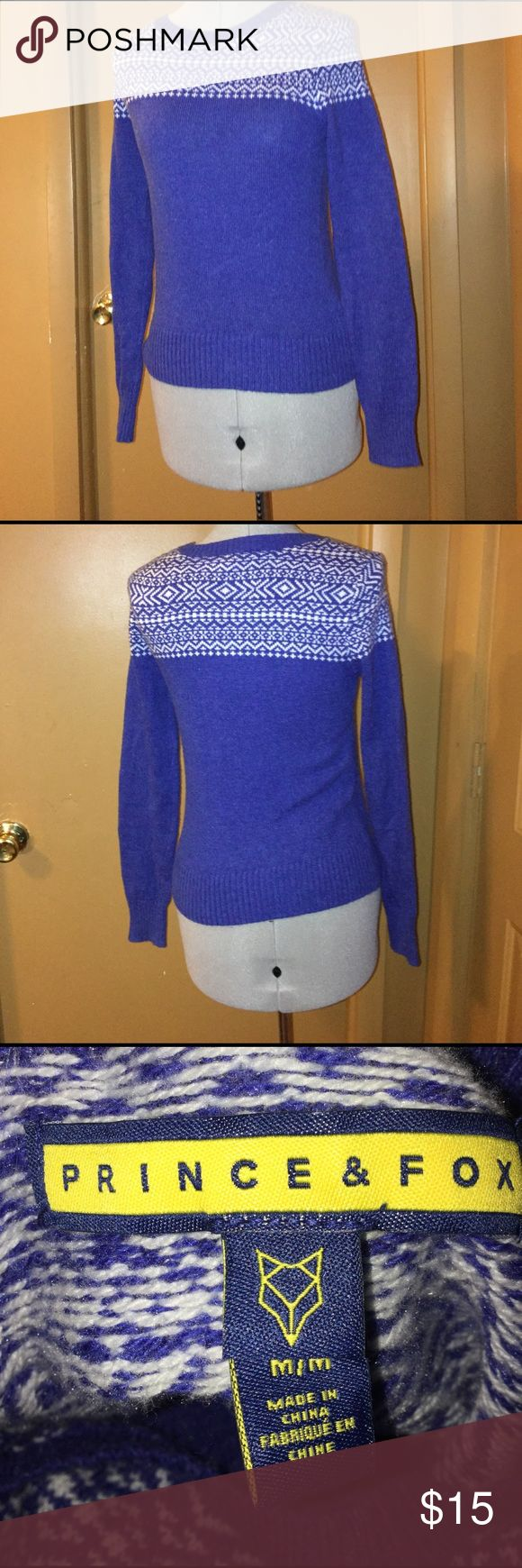 Prince and Fox sweater size Medium. Blue and White Prince and Fox sweater size Medium. Smoke free home and dog mom. Prince and Fox Sweaters