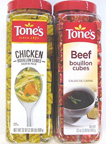 2 Pack: Tone's Chicken Bouillon Cubes and Tone's Beef Bouillon Cubes Variety Pack, 32 Oz Each, 1 of Each Flavor. (Bundle of 2), 227 Cubes Per Container -- See this great image @ : Cheap Meals for Dinner