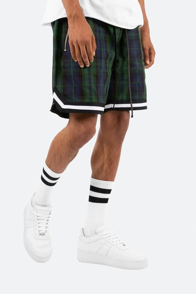 Plaid Basketball Shorts Green Black Mnml Basketball Shorts Jogger Shorts Plaid Shorts