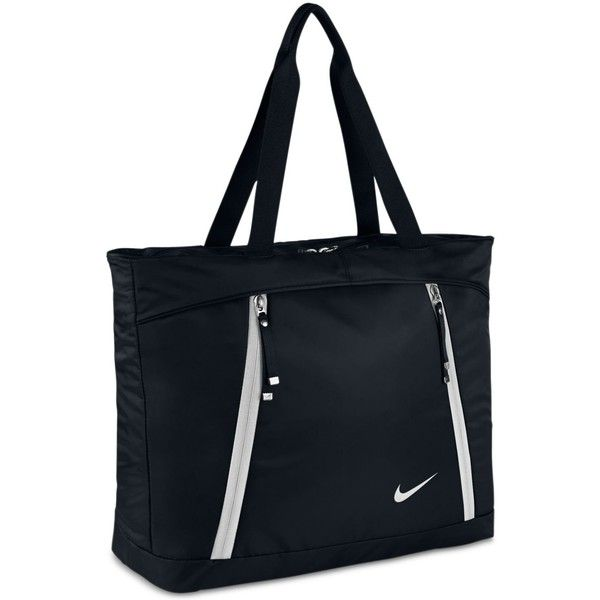 Nike Auralux Tote Bag ($60) ❤ liked on Polyvore featuring bags, handbags, tote bags, black, tote handbags, handbags totes, tote purses, nike tote and nike handbags
