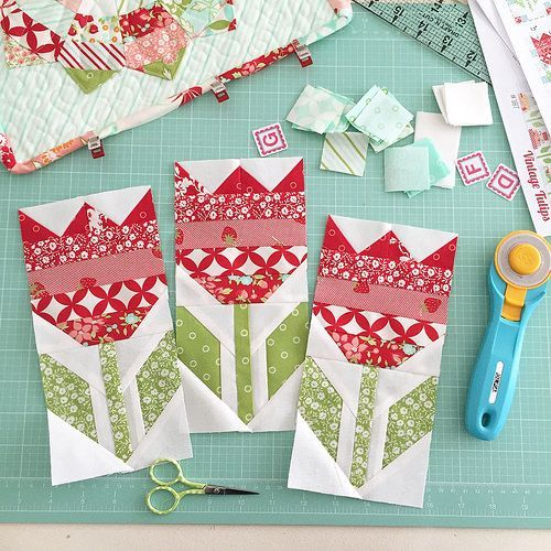 New Hello Darling patterns (Simplify - Camille Roskelley) - tulip flower quilt blocks