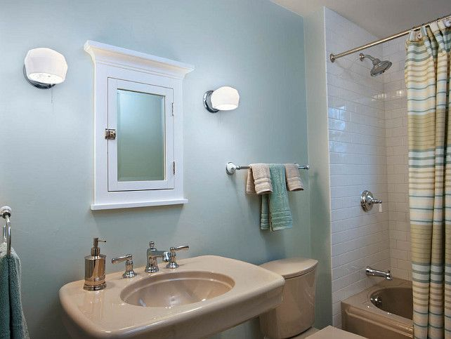 Beige Tile Bathroom With Sea And Sand Paint Combo