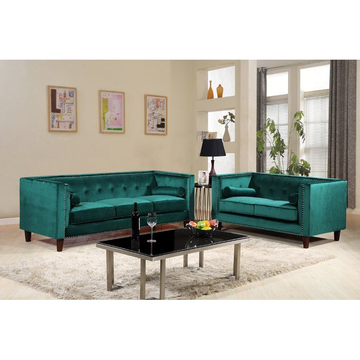 Kittleson Classic Nailhead Chesterfield 2 Piece Living Room Set Living Room Sets Sofa Set Room Set