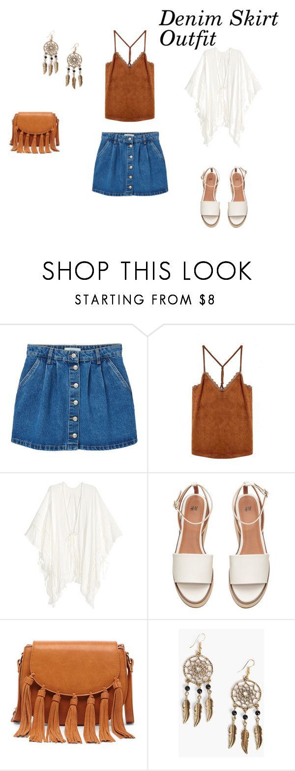 Denim Skirt Outfit by vas0an on Polyvore featuring MANGO, Sole Society and Boohoo