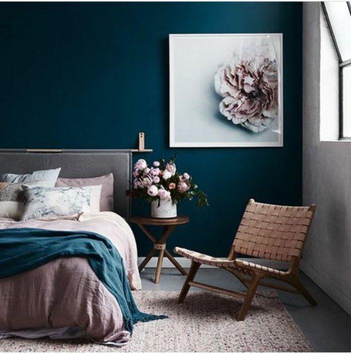 Mur Bleu Canard Peinture Magnifique Fleur Rose Chambre à