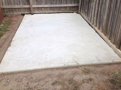 Backyard Concrete Slab Ideas extending concrete patio with pavers How To Pour A Concrete Slab For A Shed