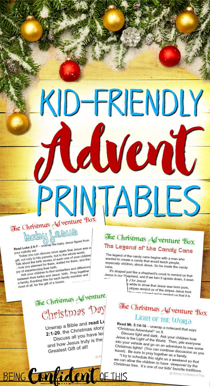 Want to keep Christ at the center of your #Christmas ?  These free printables make kid-friendly #advent easy! The Christmas Adventure Box is a fun, frugal, and flexible advent activity that teaches children the true reason for celebrating Christmas!  Learn the spiritual significance behind family Christmas traditions, too (candy cane, Christmas lights, etc.). Scripture-based lessons perfect for toddler/preschool to adult. Homeschool, Children's Ministry,  #kids #ChristianFamily #devotions