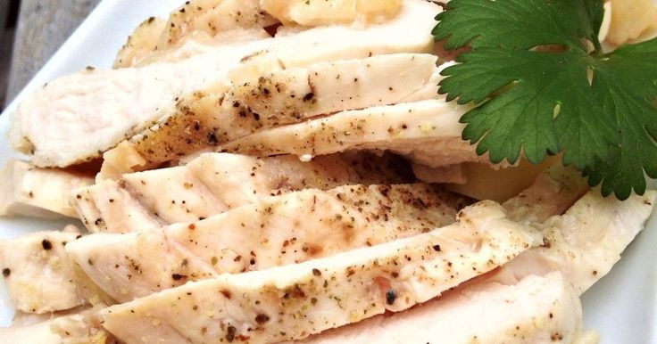 Great recipe for Perfectly Moist and Juicy Steamed Chicken Breast. Briefly steaming chicken in white wine/sake and letting the residual heat slowly cook the meat prevents it from drying out. This technique is very versatile and the chicken can be used in salads, wraps & sandwiches, or is delicious just as is with an avocado dip or herb sauce. I recommend using a heavy pot like Le Creuset, as it holds heat well, but you can also use a covered sauce pan (may want steam for another 1-2 minut...
