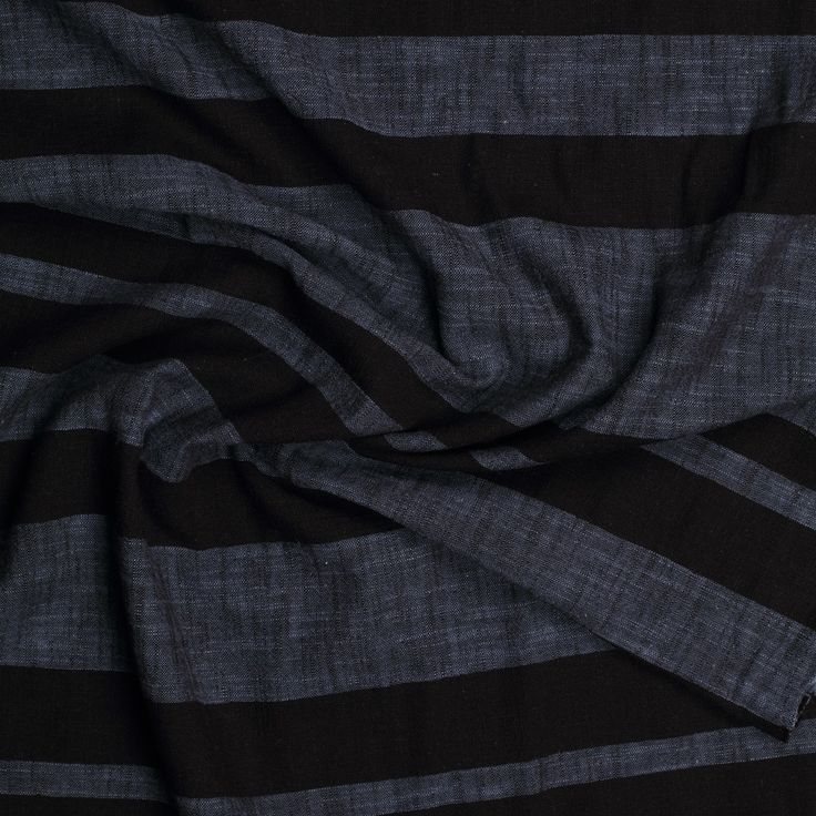 donkerblauw zwart linnen katoen gemeleerd gestreept