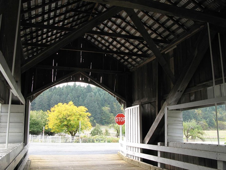 Interior of Neal Lane covered bridge, also known as the South Myrtle Creek Bridge near Myrtle Creek, Oregon. Aside from being one of the shortest covered bridges in Oregon at 42 feet, Neal Lane has the distinction of being the only roofed span in Oregon using a kingpost truss design. Also sports cross-wise plank flooring, a single window on either side, and a metal roof. 1929.