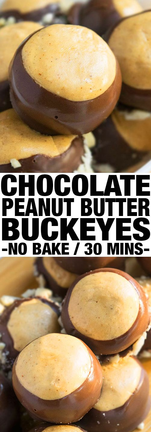 Quick and easy BUCKEYE BALLS recipe, also known as chocolate peanut butter balls that are a soft and fudgy no bake dessert. These are the best buckeyes! {Ad} From cakewhiz.com