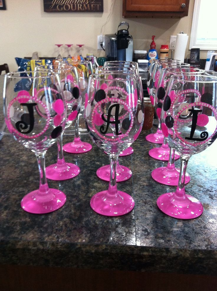 17 best ideas about girls night crafts on pinterest for Painted wine glasses with initials