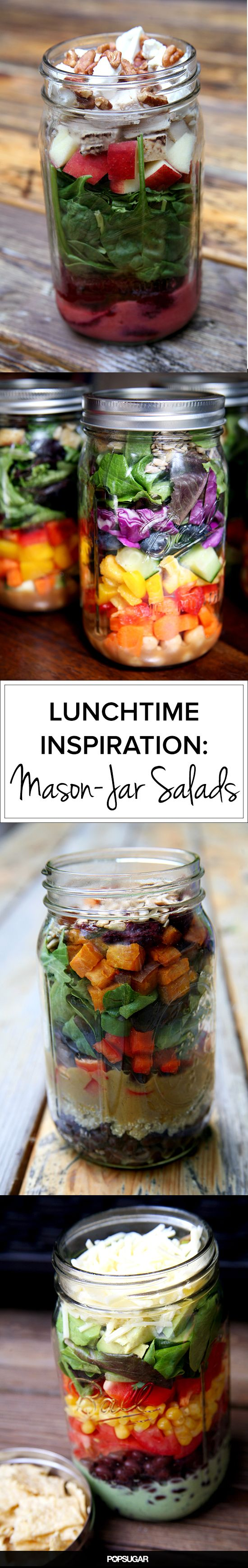 20 Salads in a Jar That Will Make You Want to Eat Healthier...lunch for HUTCH