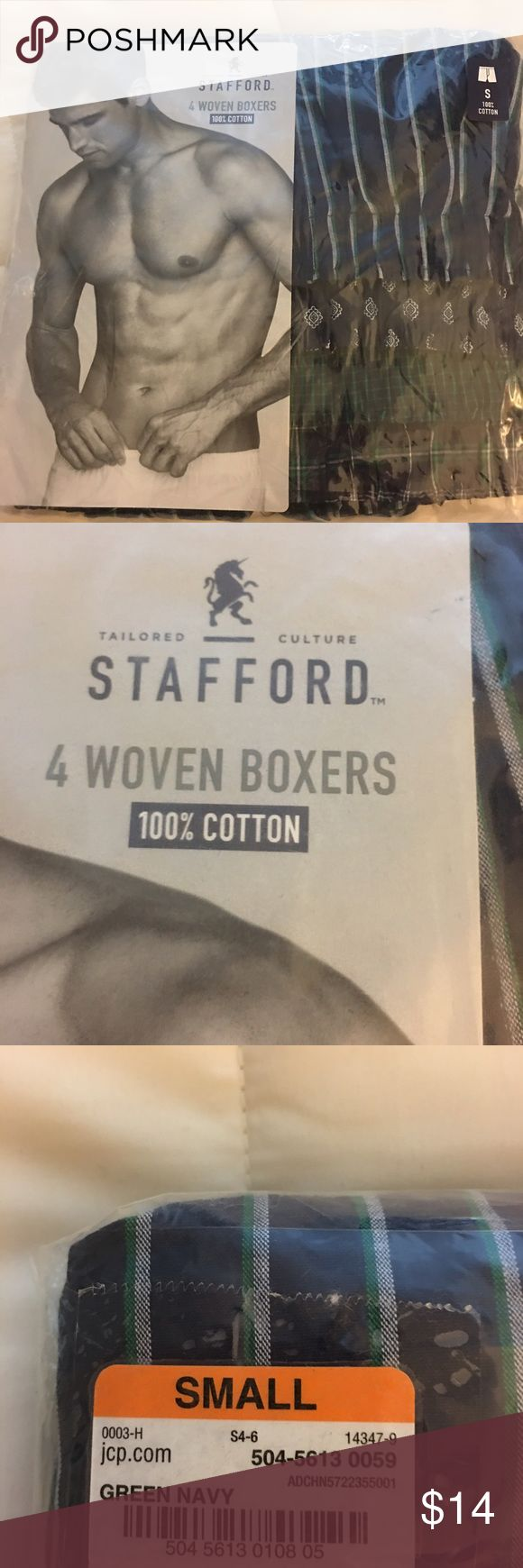Stafford 100% cotton woven boxers- 4 pack-Sm 28-30 Stafford 100% cotton woven boxers- 4 pack-Sm 28-30 - Green/Navy colors Stafford Underwear & Socks Boxers