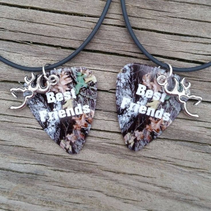 Best Friends silver deer charm Camo guitar pick matching friends forever necklaces set country southern buck Buddy Gift for girl or guy by Featherpick on Etsy