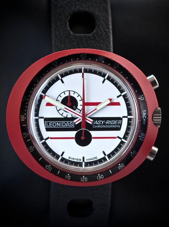 Leonidas Easy Rider, vintage Heuer Chronograph as worn by Jacky Ickx