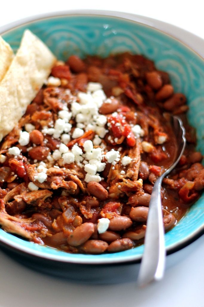 A chicken chili with pinto beans. Healthy, hearty and wonderful served with cornbread.