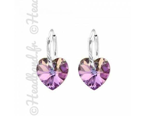 Créoles coeur Swarovski violet