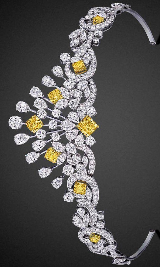 Modern yellow and white diamond scroll motif tiara by Graff