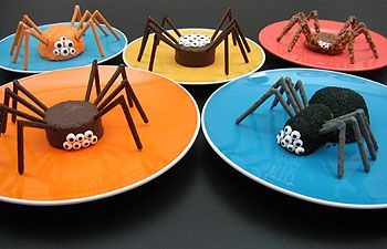 Easy-as-can-be creepy, crawly Halloween treats. Easy because these bugs start with Hostess and Little Debbie snack cakes, but if you'd rather not go that route, make your own homemade cupcakes for the bodies. Bug legs are made from Pocky in a variety of colors and textures (a.k.a. flavors!). This would work for birthday parties if the birthday boy or girl is in to bugs!!