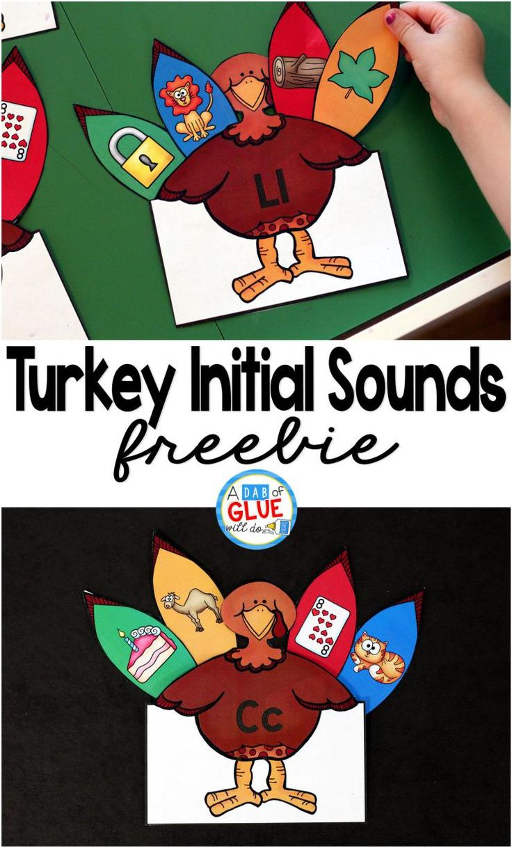 Turkey Initial Sounds is the perfect Thanksgiving literacy center to have students practice beginning sounds. This free printable is perfect for preschool and kindergarten students.