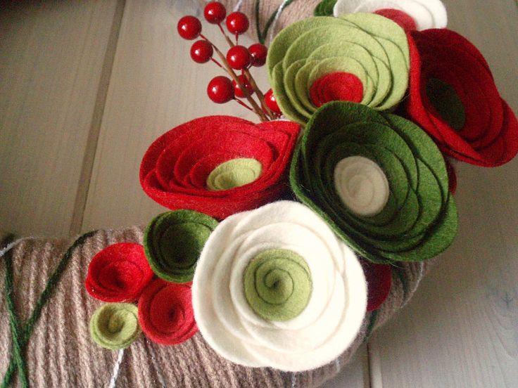 Yarn Wreath Felt Handmade Holiday Door Decoration - Holiday Special 12in. $40.00, via Etsy. for inspiration