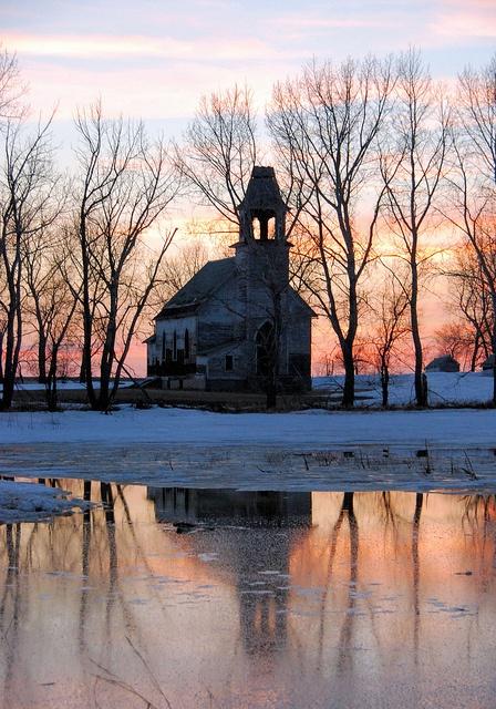 Hurricane Lake Lutheran Church at sunset by im pastor rick,