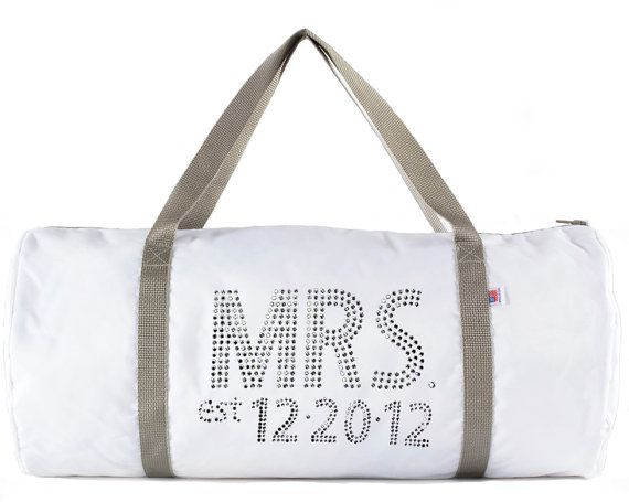 How to Make an Emergency Wedding Kit (via Emmaline Bride) - duffel bag with 'Mrs' in rhinestones by Rhinestone Sash
