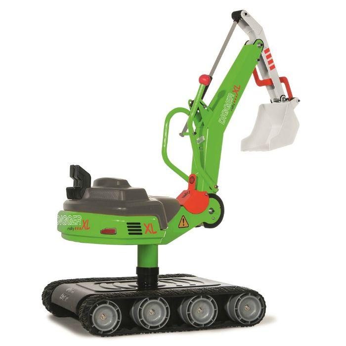 En extra stor grävmaskin i metall med larvband och grävskopa för barn att leka med i sandlådan.  Fakta Grävmaskin med larvband. Från ålder 3 år och uppåt ca. Mått: 96 x 45 x 87 cm. Vikt: 12,7 kg. Klarar belastning upp till 50 kg. Material: Metall och plast. Tillverkare: Rollytoys.