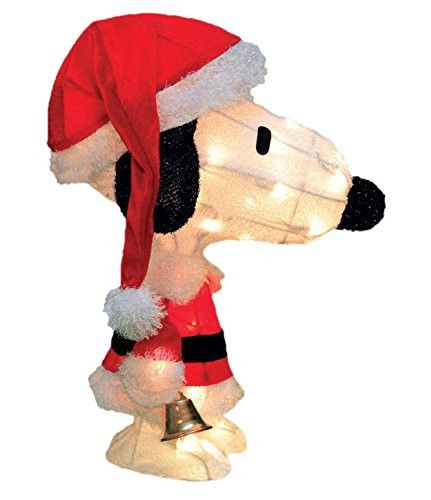 Felices Pascuas Collection 18 inch Pre-Lit Peanuts Soft Tinsel Santa Claus Snoopy Christmas Yard Art Decoration - Clear Lights