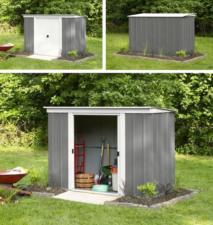 Marvelous ARROW *Metall Gerätehaus* Geräteschuppen, Gartenhaus PTG 84 Grau Mit  Flachdach In Garten