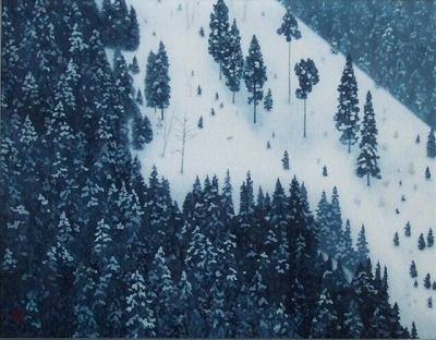 """Kaii Higashiyama [東山魁夷] -春雪 """"Synsetsu"""" means """"Snow of spring"""" The Japanese-style painter whom I love most.....(^^)"""