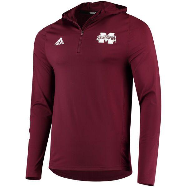 Mississippi State Bulldogs adidas 2017 Sideline Training 1/4 Zip Hoodie - Maroon - $64.99