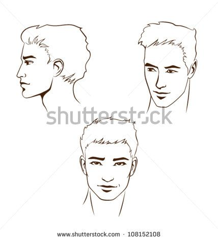 collection of simple line illustrations of handsome young