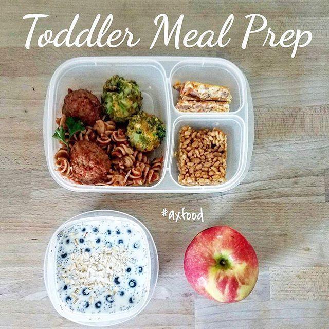 1. Fusilli & Meatballs 2. Broccoli & Cheese balls 3. Egg & Potato frittatas 4. Crisp Rice & Peanut Butter bars 5. Apple 6. Overnight oats w/ blueberries Packed in #easylunchboxes #babyfood
